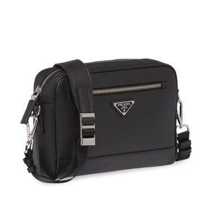 PRADA Saffiano Black Leather Travel Bag